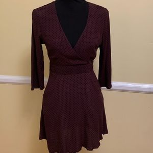 Silence + Noise Dress w/ pockets maroon polka dot